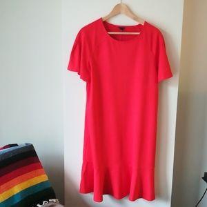 Ann Taylor red dress tee shirt peplum